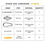 Besiter Sun Shade Kit Sails Hardware Kit for Patio