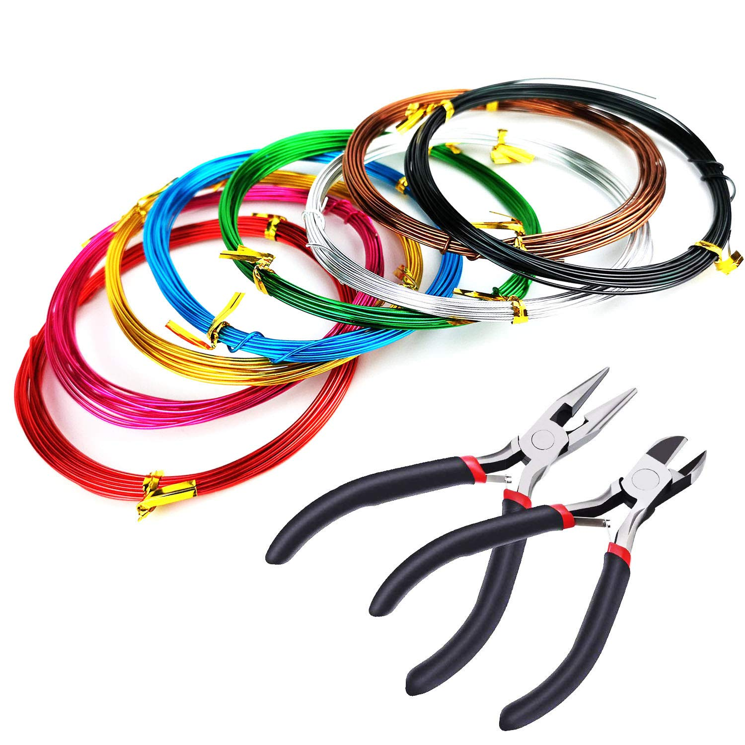8 Rolls Multi-Colored Aluminum Craft Wire, Flexible Artistic Floral Jewelry Beading Wire for DIY Jewelry Craft Making, 1.0mm*5m + 2Pcs Cutter Pliers YunLi