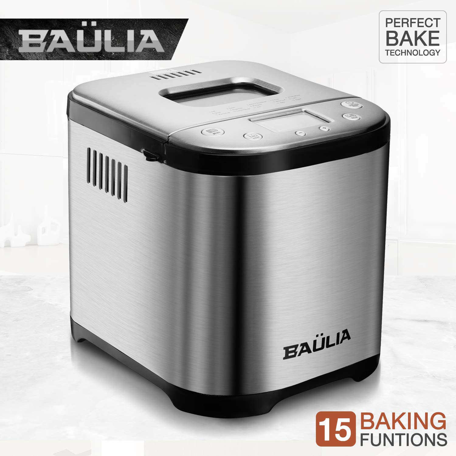 Baulia BM822 Automatic Bread Maker Machine, Gluten/Sugar-Free Functions 15 Programmable Bread Types Settings