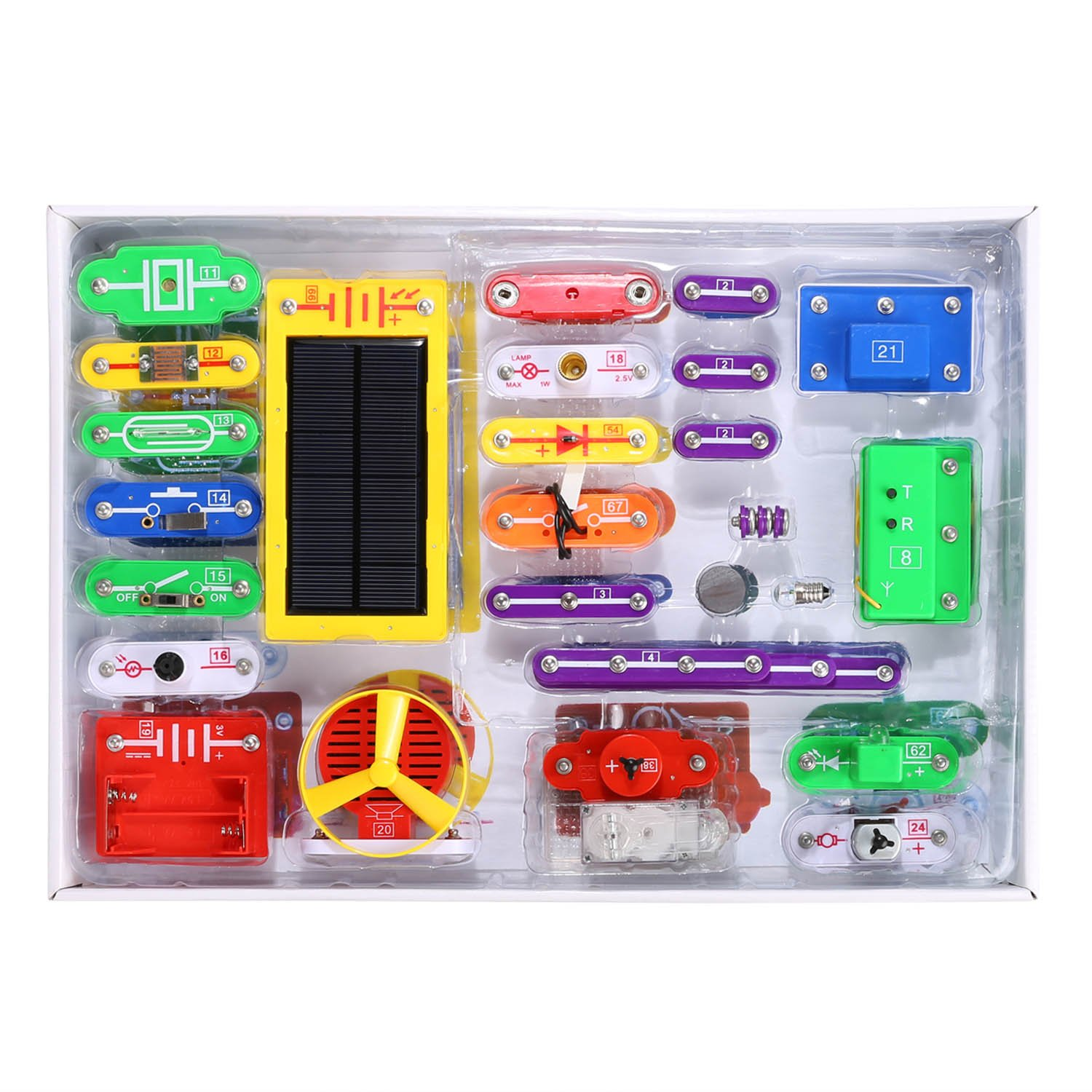 Anfan Electric Circuits Kit,Kids Electronics Exploration Kit,Solar Electronics Block Kit DIY Toy for Child (Type 2)