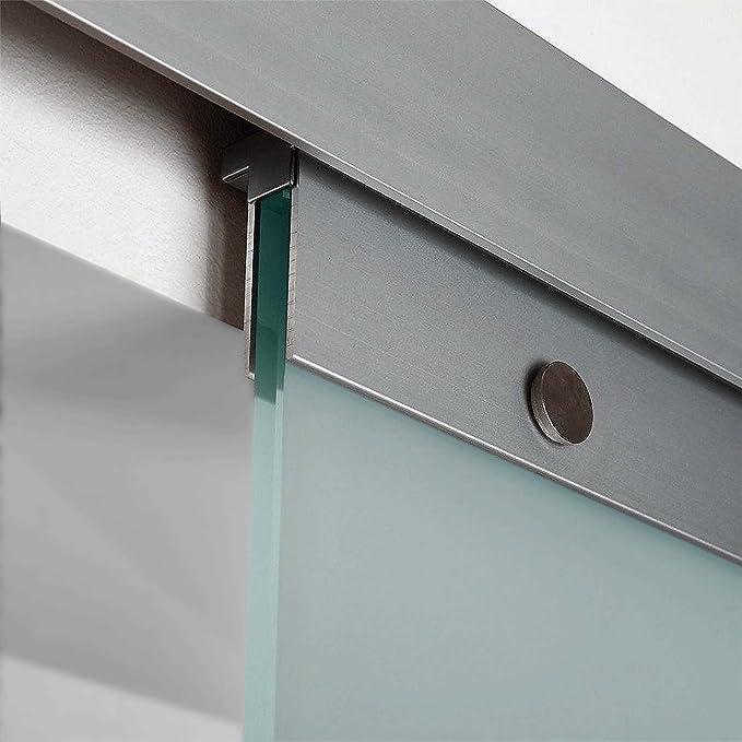 inova Glasschiebet/ür 755 x 2035 mm Kreis Design Alu Komplettset mit Lauf-Schiene und Griffknopf