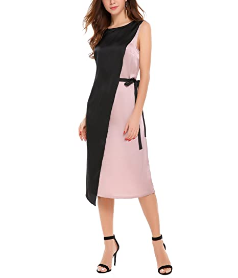 9dd8556df1d Zeagoo Women s Round Neck Sleeveless Colorblock Contrast Casual Midi Dress  With Detachable Belt (Pink