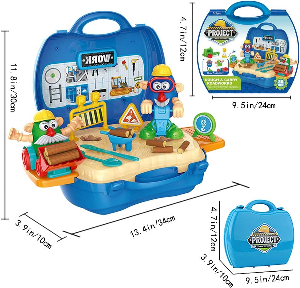 SPIEL Kids Play Dough Playset 27 Pcs Crazy Cuts Barbershop Dough Set Pretend Play Toy Kit with Dough and Moulds in a Portable Case Age 3 up