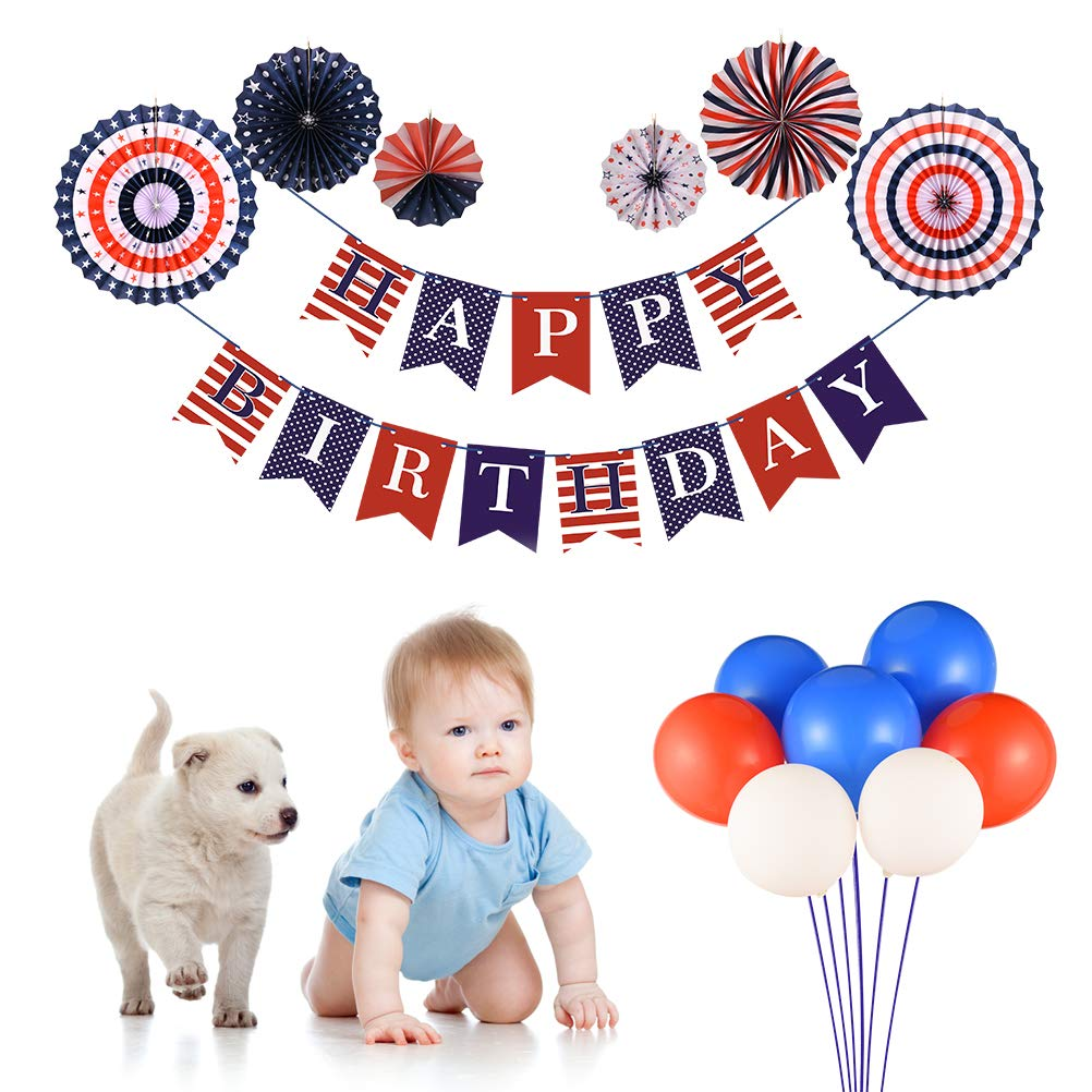 Triwol Boy Birthday Decorations For 1st 2nd 13th 16th 18th Classic USA Red And Blue Theme Bday Party Decor Include Happy Banner Paper