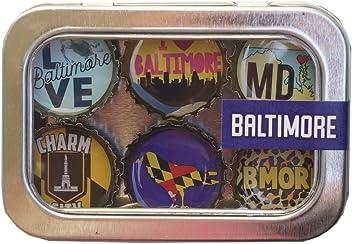 Kate Grenier Designs m6: balt Baltimore Lover Magnet six Pack, Multicolored