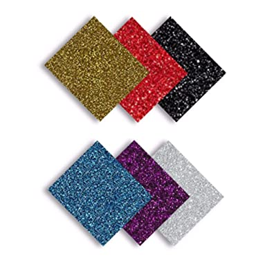 MiPremium Glitter Heat Transfer Vinyl Iron On Vinyl Sheets of 6 Most Popular Colors Starter Bundle for T Shirts Sports Clothing, Garments & Fabrics, Easy Weed, Cut & Press Vinyl (Multicolor)