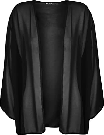 WearAll Women's Plus Size Plain 3/4 Sleeve Open Kimono Cardigan at ...