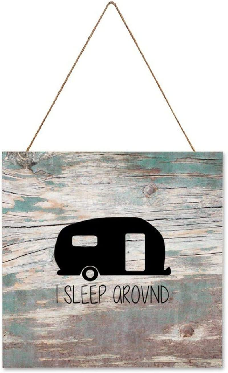 Pealrich I Sleep Around Camper Rustic Wooden Sign Decor, Wall Hanging Art Decor Sign, Gift for Mama, 4 x 4 Inch