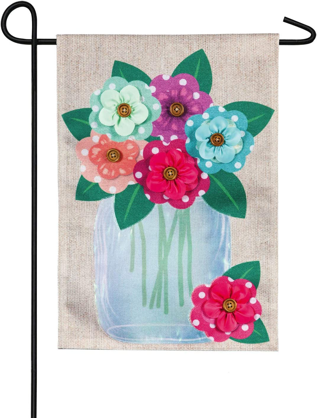 Polka Dot Floral Mason Jar Garden Burlap Flag - 13 x 1 x 18 Inches