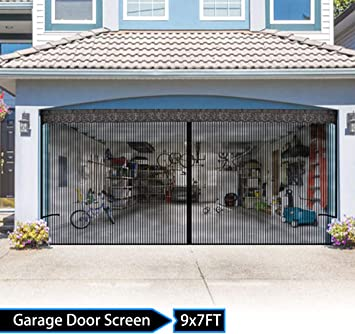 Garage Door Screen With Magnetic 9x7ft For One Car Garage Magnetic Garage Screen Door Heavy Duty Mesh Patio Porch Privacy Curtain Amazon Com