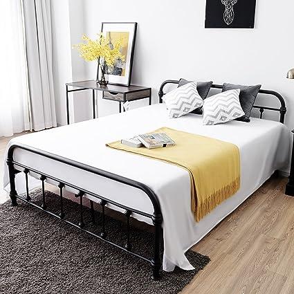 Amazon.com: Giantex Metal Platform Bed Frame with Headboard and ...