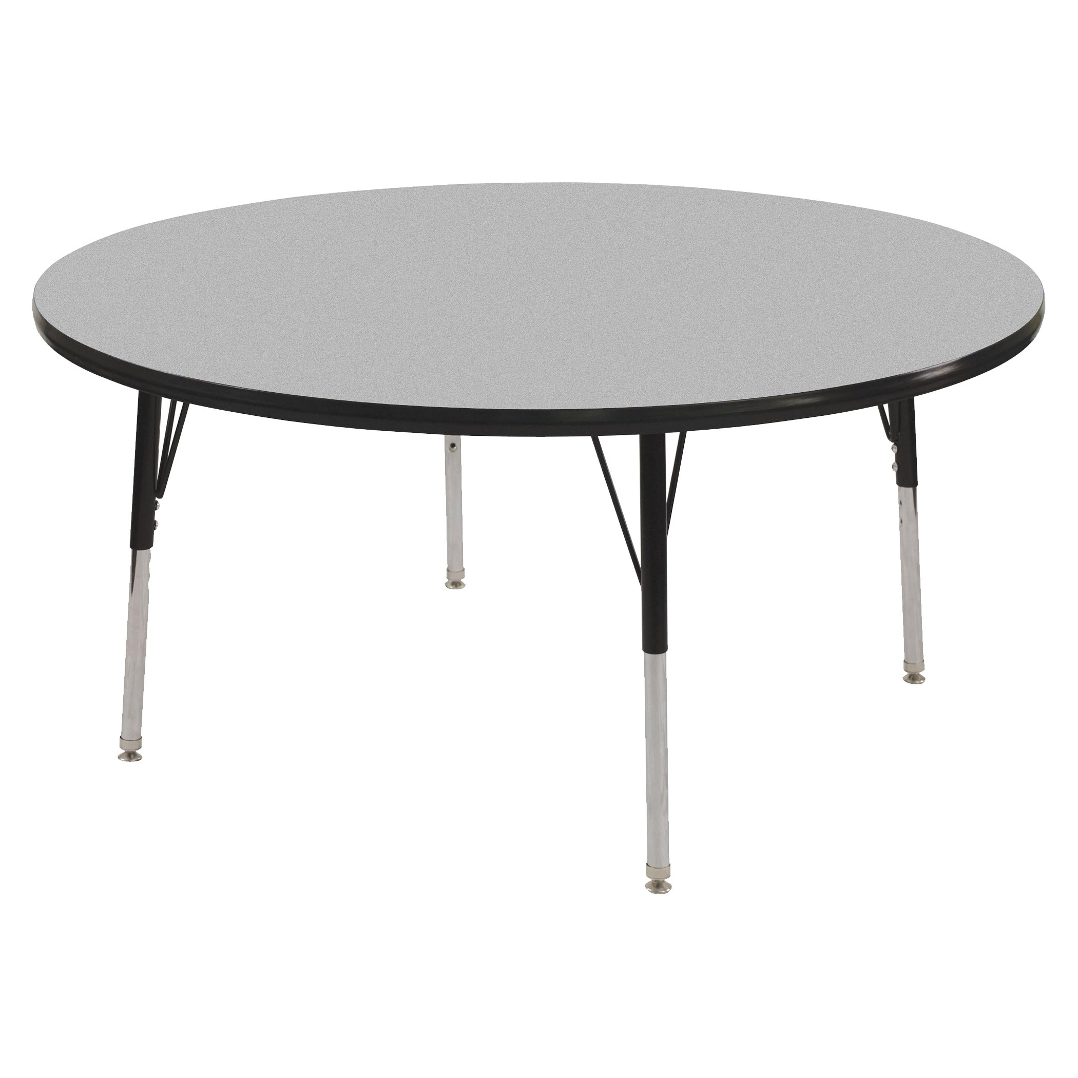 ECR4Kids T-Mold 48'' Round Activity School Table, Standard Legs w/ Swivel Glides, Adjustable Height 19-30 inch (Grey/Black)
