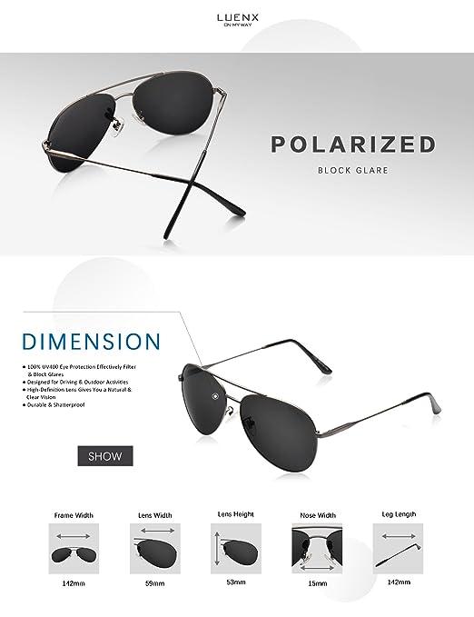 69ceec0124a LUENX Men Women Aviator Sunglasses Grey Polarized with Accessories Metal  Frame UV 400 60MM Driving Fashion  Amazon.ca  Sports   Outdoors
