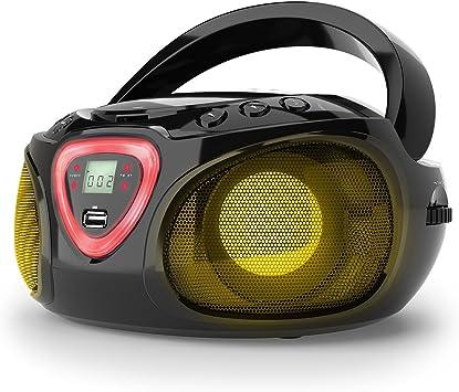 auna Roadie - CD-Radio, Equipo estéreo, Minicadena, Reproductor de CD, Puerto USB, MP3, Sintonizador Am/FM, Bluetooth 2.1 + Der, Luz LED 2 x 1,5 W ...
