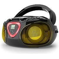 auna Roadie - CD-radio, stereo, boombox, USB, MP3, FM-radiotuner, Bluetooth 2.1, LED-verlichting, 2 x 1,5 W RMS-voeding, netvoeding en batterijvoeding, wit