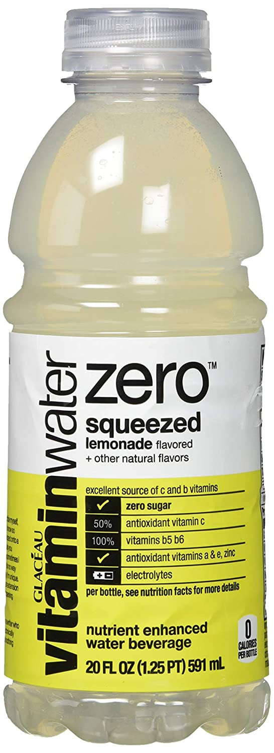 vitaminwater zero squeezed, lemonade flavored, electrolyte enhanced bottled water with vitamin b5, b6, b12, 20 fl oz, 12 pack