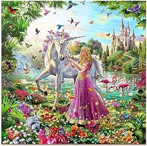5D Resin Diamond Princess and Unicorn Design Embroidery Painting DIY Kit