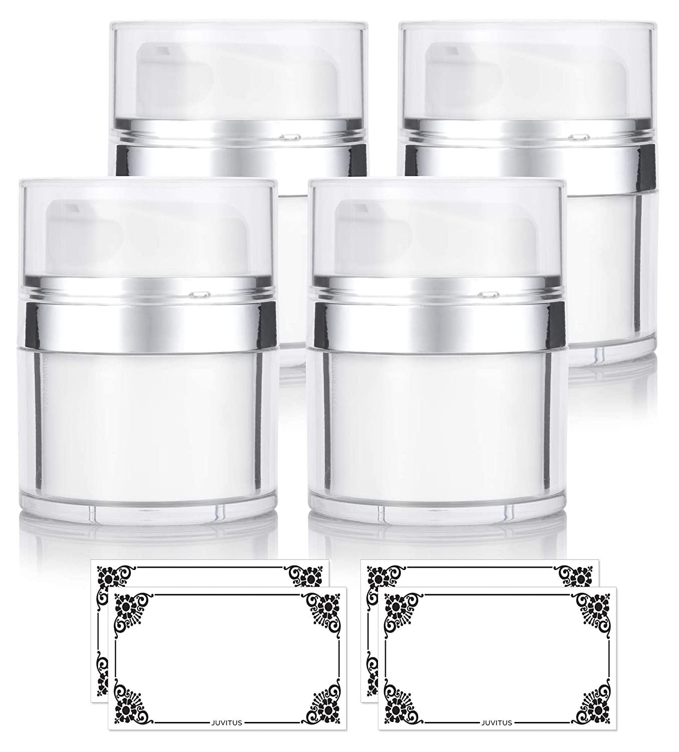 NEW Airless Pump Refillable Jar 1.7 oz / 50 ml (4 pack) keeps out bacteria and air changing oxidation from your skin care products - durable, leak proof, and shatterproof for home or travel