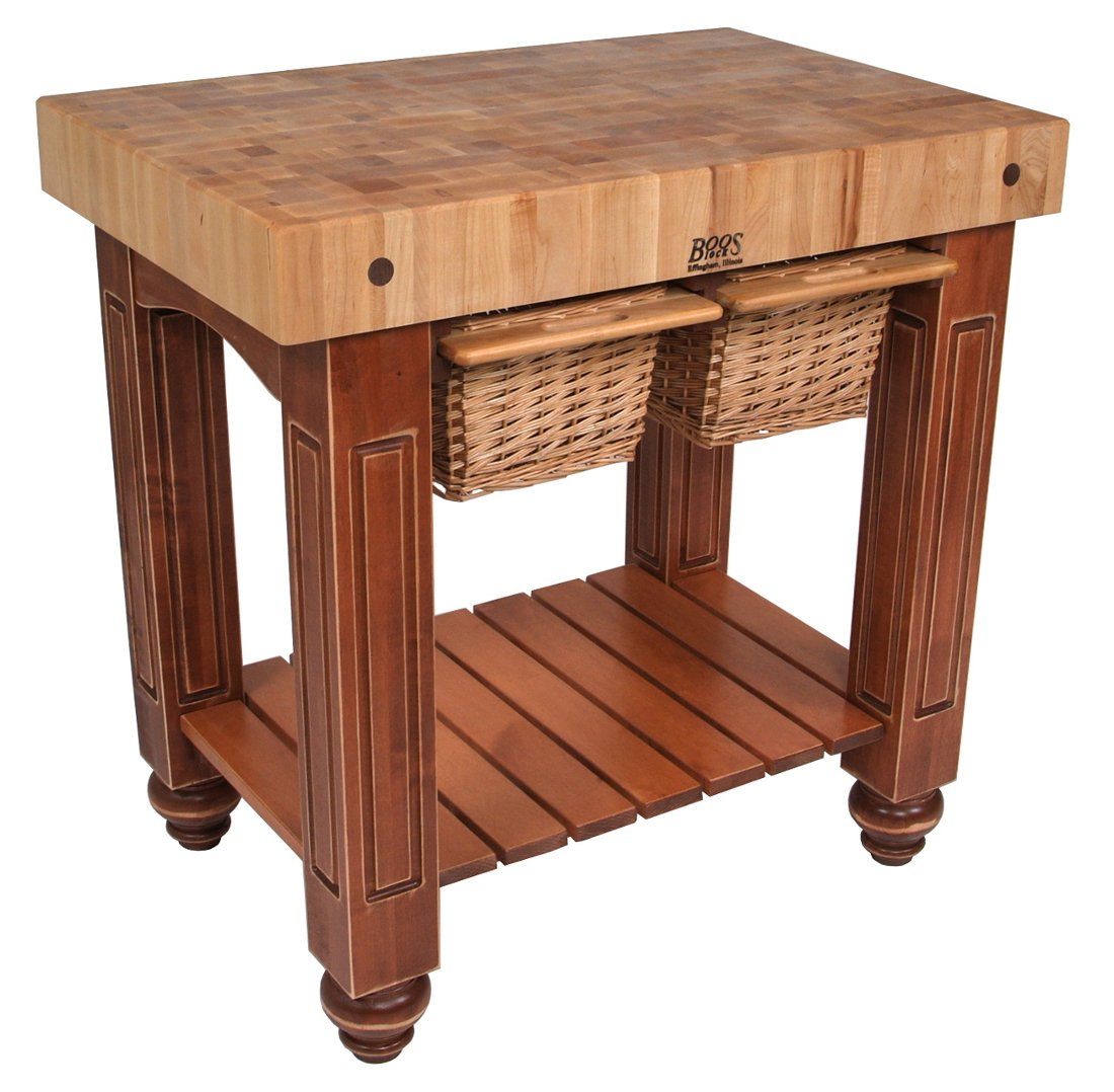 American Heritage Gathering Block II Prep Table with Butcher Block Top Base Finish: Warm Cherry