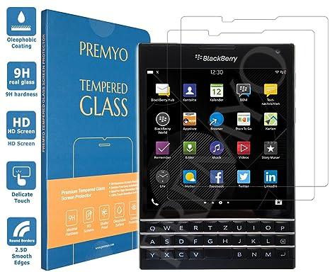 [2 Pieces] PREMYO BlackBerry Passport tempered glass  BlackBerry Passport  screen protector with 9H hardness and 2 5D round edges  BlackBerry Passport