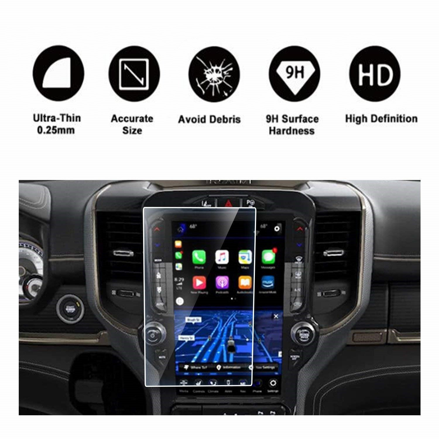 HD Clear TEMPERED GLASS Protective Film Against Scratch High Clarity RUIYA 2019RAM12IN 2019 Dodge Ram 1500 Uconnect Touchscreen Car Display Navigation Screen Protector 12 Inch