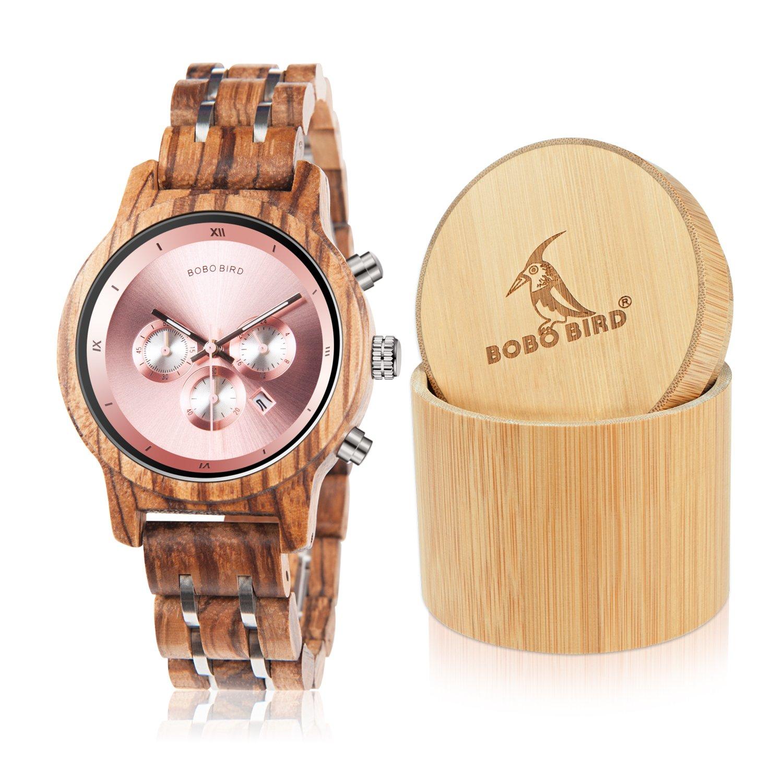BOBO Bird Women Wooden Watches Luxury Wood Metal Strap Chronograph & Date Display Quartz Watch Fashion Zebra Wood Casual Business Ebony Wristwatches (Zebra-Pink)