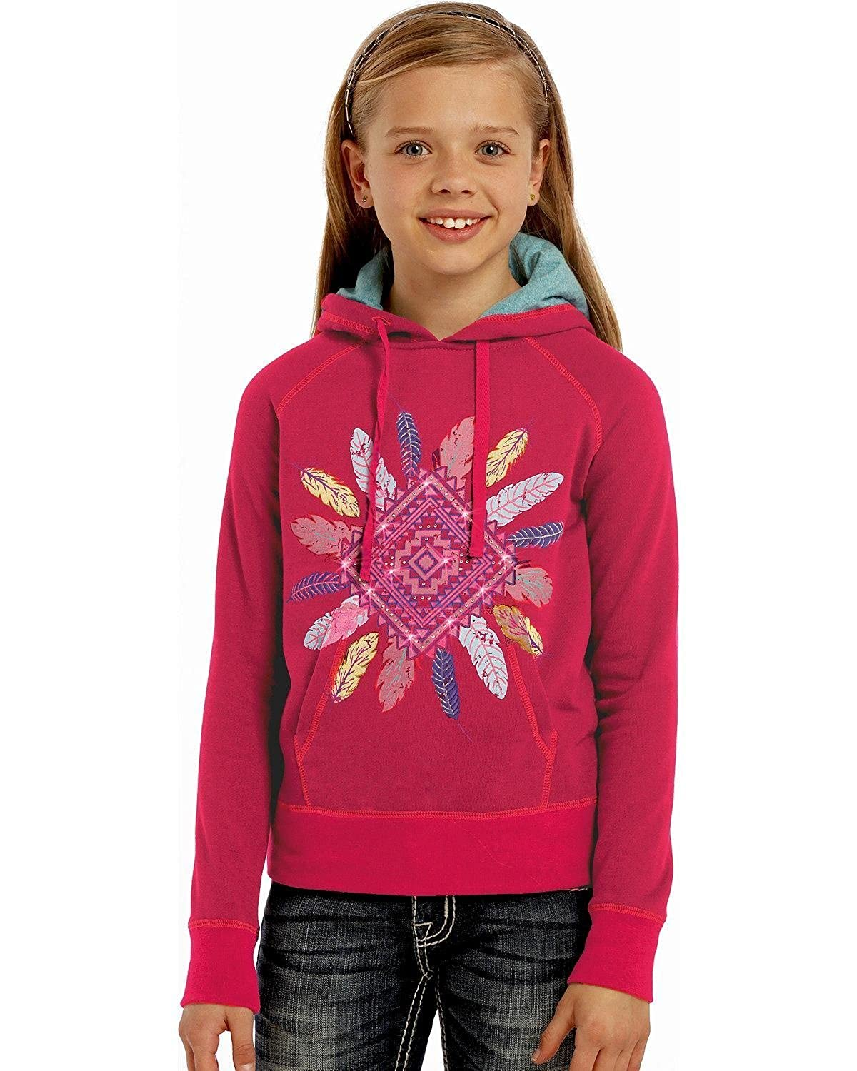 Rock and Roll Cowgirl Girls Aztec Diamond Feather Hoodie Hot Pink