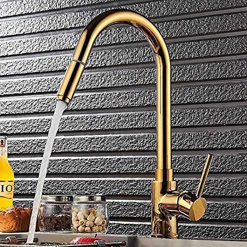 - Lovedima Luxurious High-Arc Single Handle 1-Hole Solid Brass Pull-out Spray Kitchen Faucet in Gold (Gold)