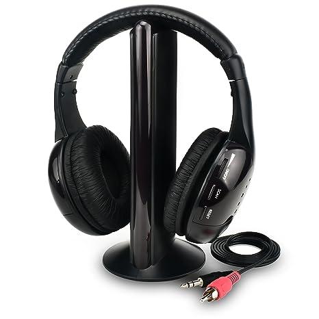 Rybozen - Auriculares inalámbricos para televisión, funciones 5 en 1, con transmisor, radio