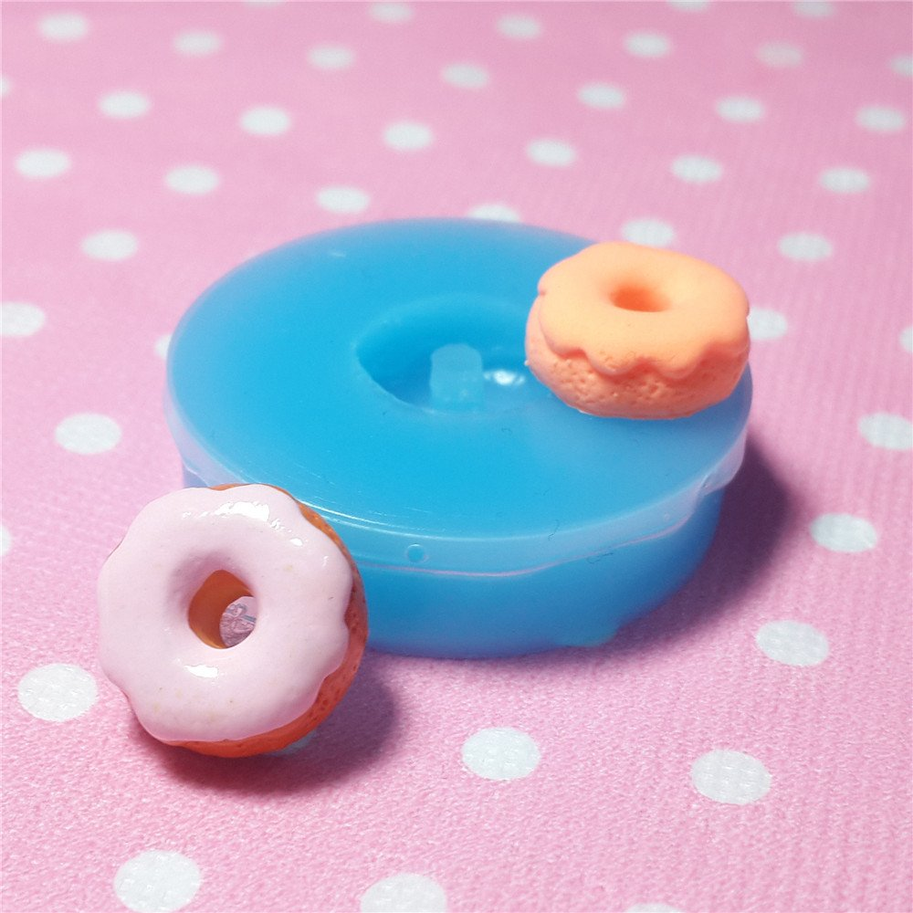 010LBT Kawaii Cute Round Sauce Sweet Chocolate Cream Doughnut Fondant Silicone Mold for Cake Cookie Phone CellPhone Decorating Chocolate Soap Epoxy Clay