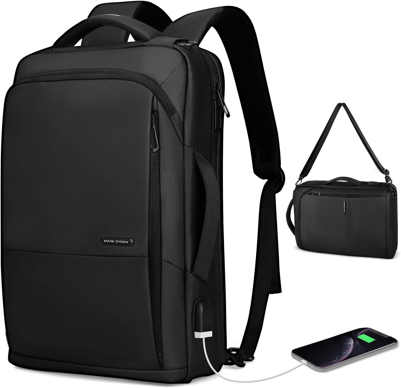 Markryden slim Laptop Backpack 3 in 1 backpack with USB Charging Port Water-Resistant School Travel Work Bag Fits 15.6 Inch Laptop
