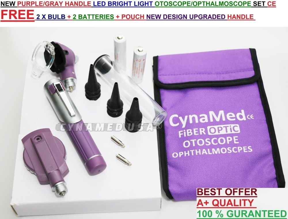 PREMIUM HIGH GRADE Home Use +Student Otoscope Set, Fiber Optic Digital Bright LED Ear Light Design, 4X Magnification with Storage, Washable Speculum Tips for Children, Adults & Pets-CYNAMED BRAND