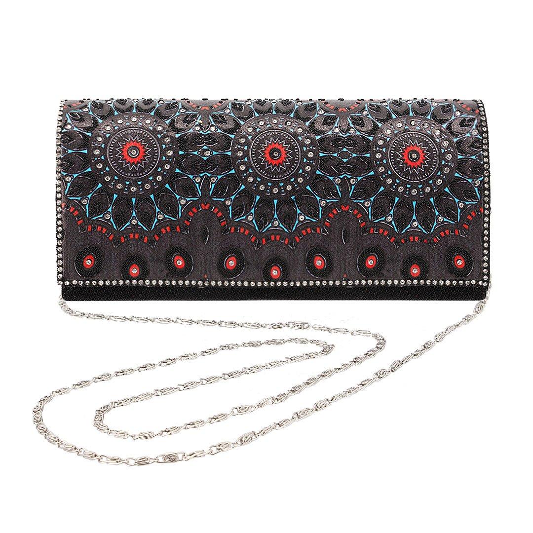 Gabrine Womens Evening Shoulder Bag Handbag Clutch Purse Vintage Retro Style Mesh Fabric Material Rhinestone for Wedding Prom Party(Black)
