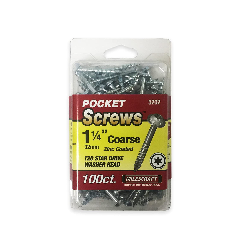 "Milescraft 52020003 1.25"" Pocket Screws - coarse - Includes 100, T20 Star, washer head screws"