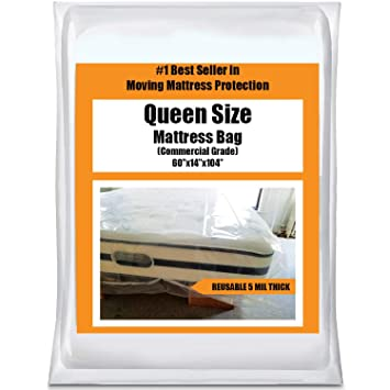Queen Mattress Bag Cover For Moving Or Storage 5 Mil Heavy Duty Thick Plastic Wrap Protector Reusable Bags Supplies