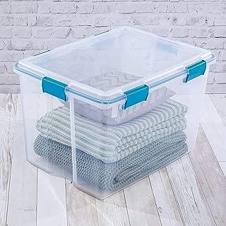 product image for Sterilite 19384304 80 Quart/76 Liter Gasket Box, Clear Lid & Base w/ Blue Aquarium Latches & Gasket, 4-Pack