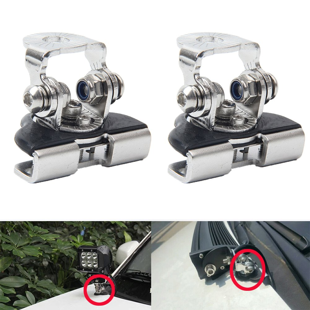 DSS Tuning Stainless Universal Hood Mounting Brackets Engine Cover Bonnet Mount for JEEP Car Auto Ambulance Fire-engine Police Vehicle Truck Sedan Saloon Limousine ATV SUV Led Work Driving Light Bar 5559040744