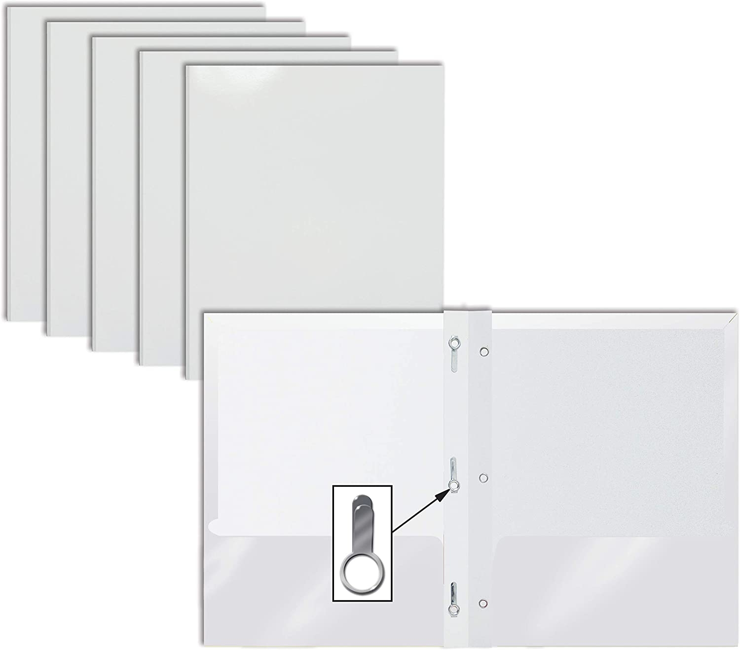 2 Pocket Glossy White Paper Folders with Prongs, 25 Pack, by Better Office Products, Letter Size, High Gloss White Paper Portfolios with 3 Metal Prong Fasteners, Box of 25 Glossy White Folders