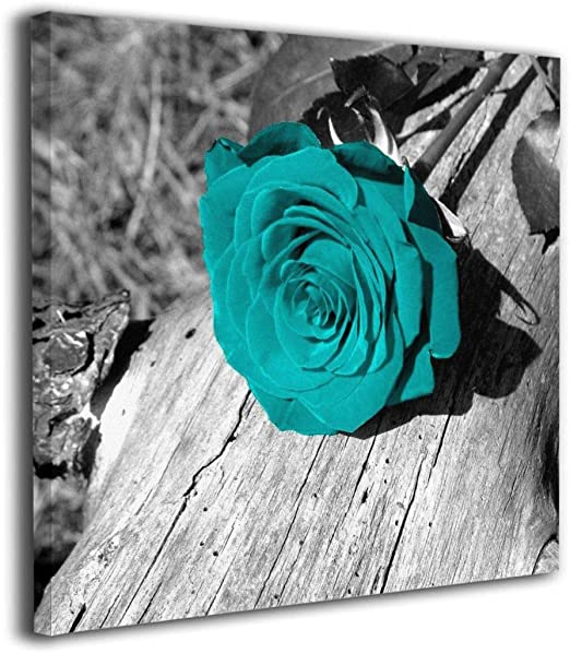 3 Piece Wall Art for Bedroom Black and White Teal Rose Canvas Wall Art Still Life Flower Paintings Giclee Print Contemporary Bathroom Wall Decor Framed Ready to Hang Nachic Wall