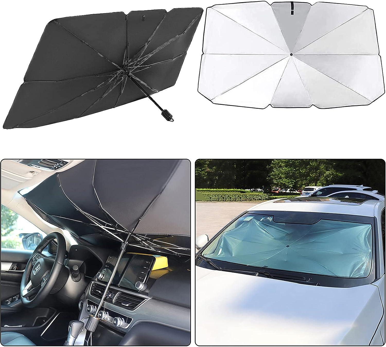 Unnosin Parasol para Ventana Delantera de Coche, Parasol Plegable, Protección UV para Coches, SUV, Furgonetas y Camiones (145 x 79 cm), Color Negro