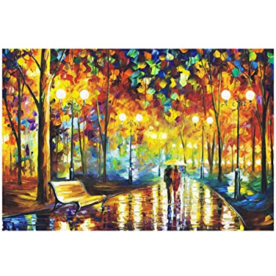 Puzzles for Adults 1000 Piece, Konren Jigsaw Puzzle Educational Intellectual Decompressing Fun Family Game for Kids Adults (Rainy Night Stroll): Toys & Games