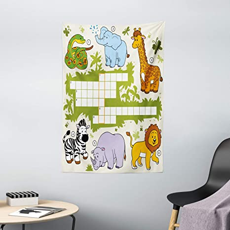 Amazon Com Ambesonne Word Search Puzzle Tapestry Colorful Crossword Game For Wild Jungle Safari Animals Grid Wall Hanging For Bedroom Living Room Dorm Decor 40 X 60 Multicolor Home Kitchen