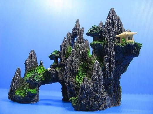 Aquarium Equip Decoración para acuario, diseño de rocas y árboles con puente: Amazon.es: Productos para mascotas