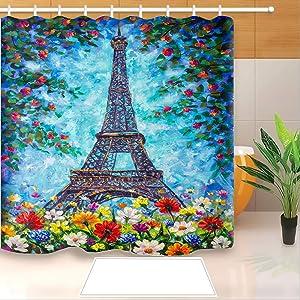 "Paris Eiffel Tower Shower Curtain Oil Painting France Eiffel Tower Flowers Bath Curtains with 12 Pieces Hooks Paris Bathroom Decor Waterproof Polyester Bathroom Accessories (72"" x 78"", Tower Blue)"