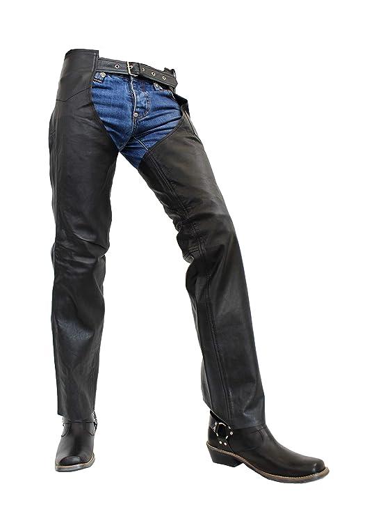 Unbekannt Chaps - Herren Lederhose/Chaps aus echtem Büffel Leder in schwarz