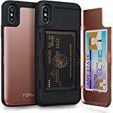 TORU CX PRO iPhone Xs Wallet Case Pink with Hidden ID Slot Credit Card Holder Hard Cover & Mirror for Apple iPhone Xs (2018) / iPhone X (2017) - Rose Gold