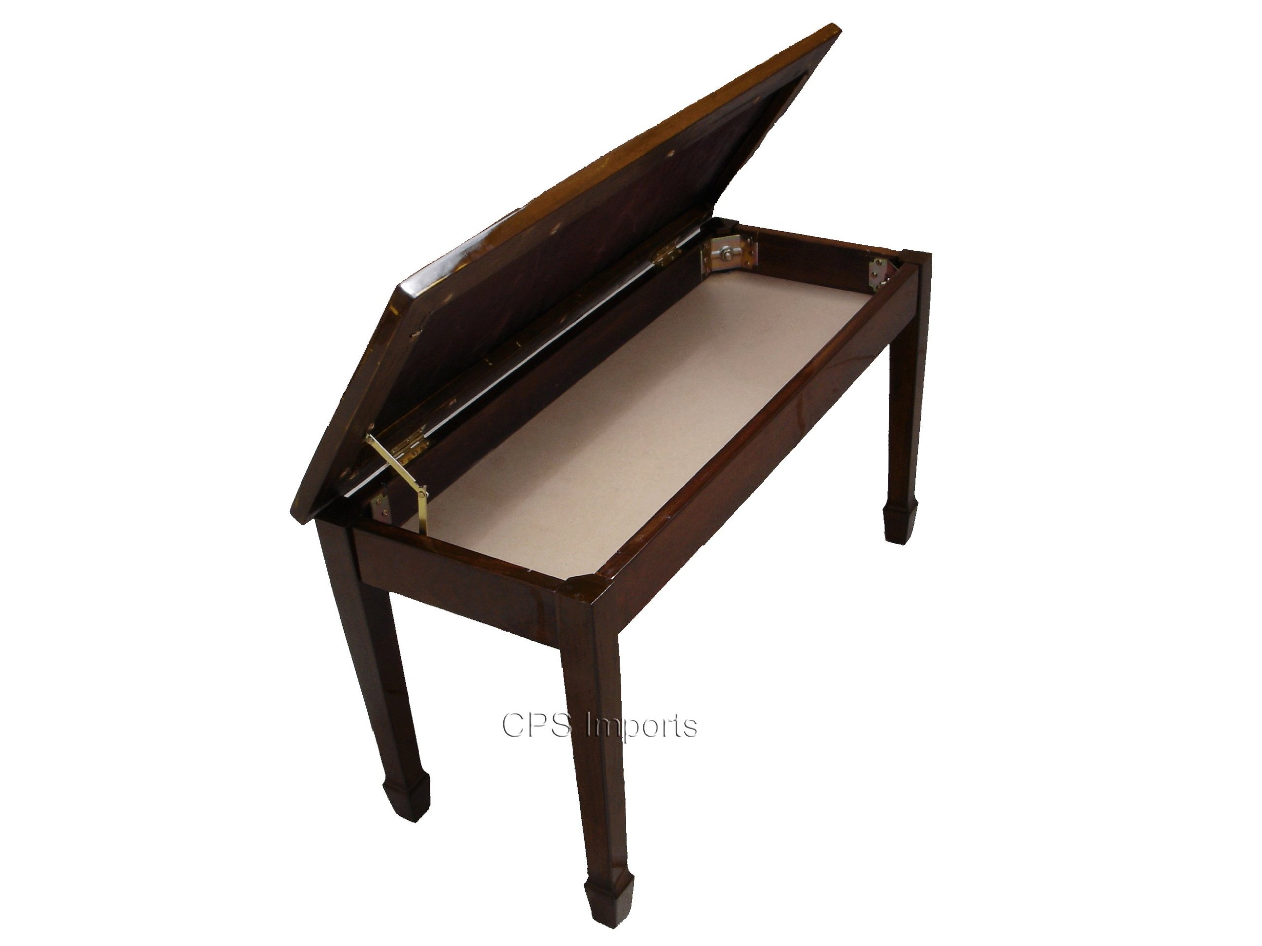 Walnut Genuine Leather Concert Grand Duet Piano Bench by CPS Imports (Image #1)