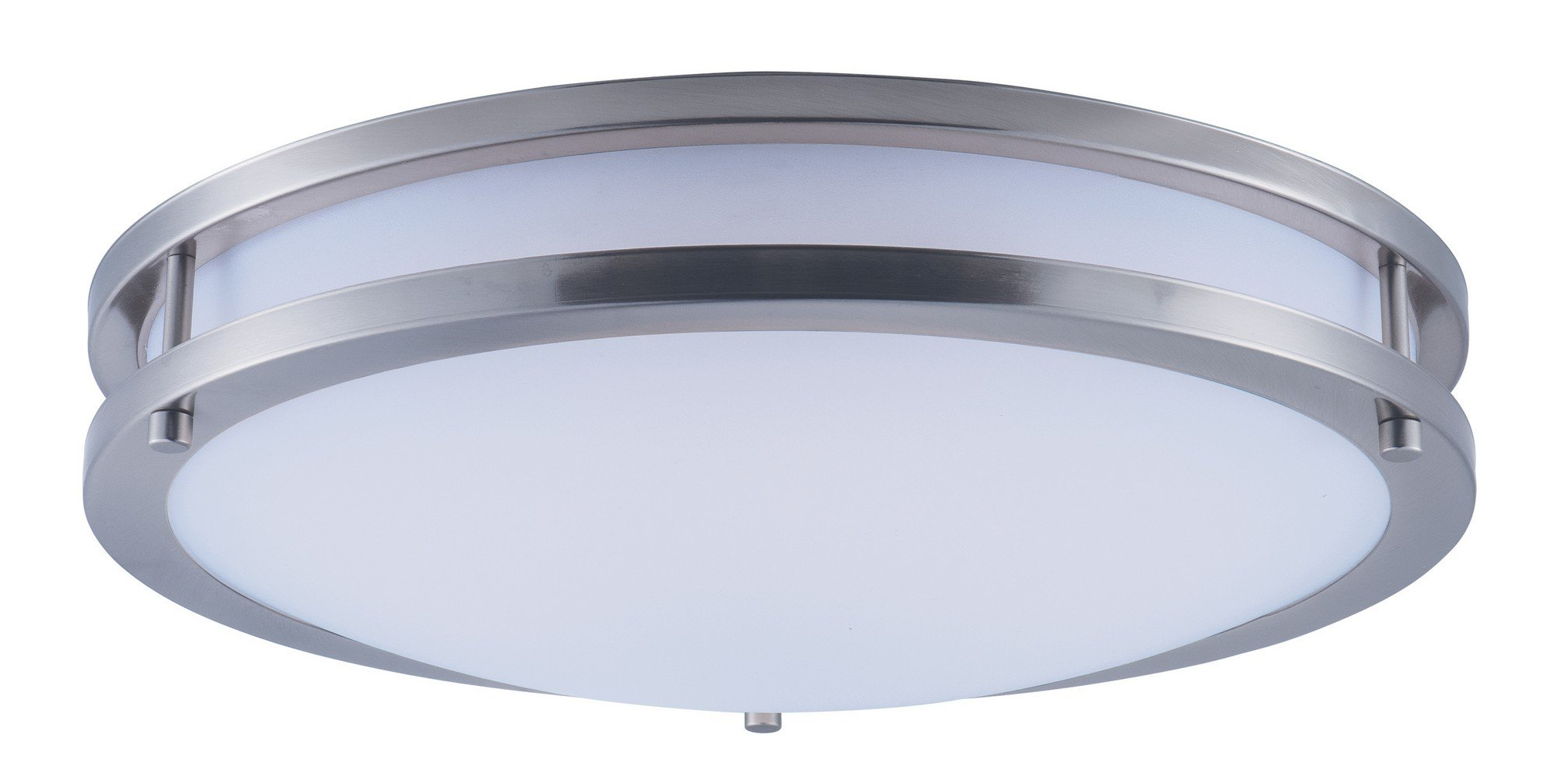 Maxim 55544WTSN Linear LED Flush Mount, Satin Nickel Finish, White Glass, LED Bulb , 40W Max., Wet Safety Rating, Standard Dimmable, Glass Shade Material, 2016 Rated Lumens