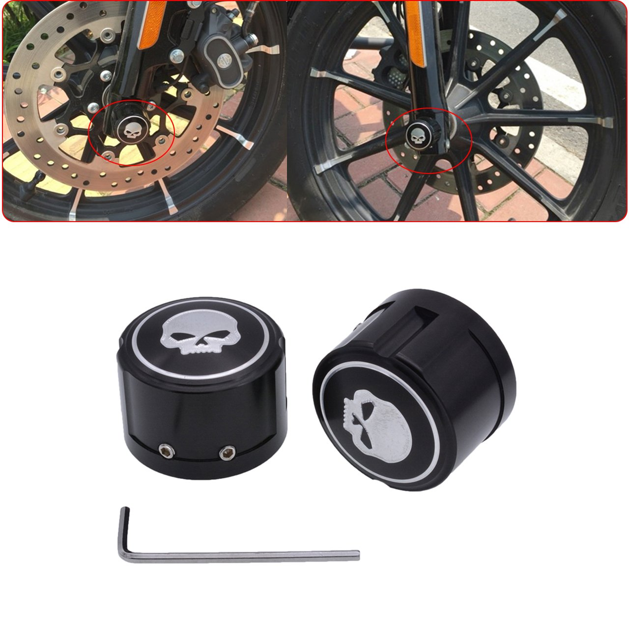 TUINCYN Motorcycle Aluminum Front Axle Cover Cap Nut Bolt Skull Decorative Hardware Kit For Harley Sportster XL883 XL1200 Black (1 pair)
