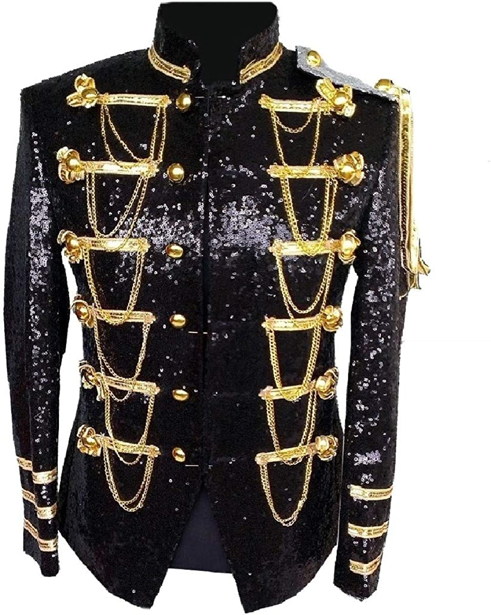 Sebaby Men Blazer Double Breasted Military Punk Jacket Wedding Prom Party